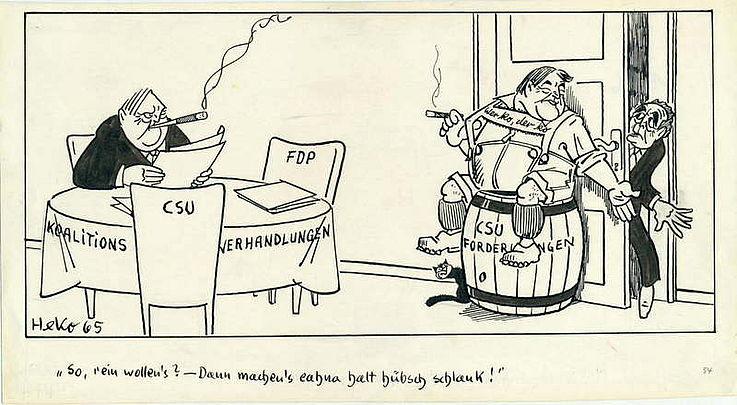 Karikatur von Herbert Kolfhaus 1965 zu den Koalitionsverhandlungen