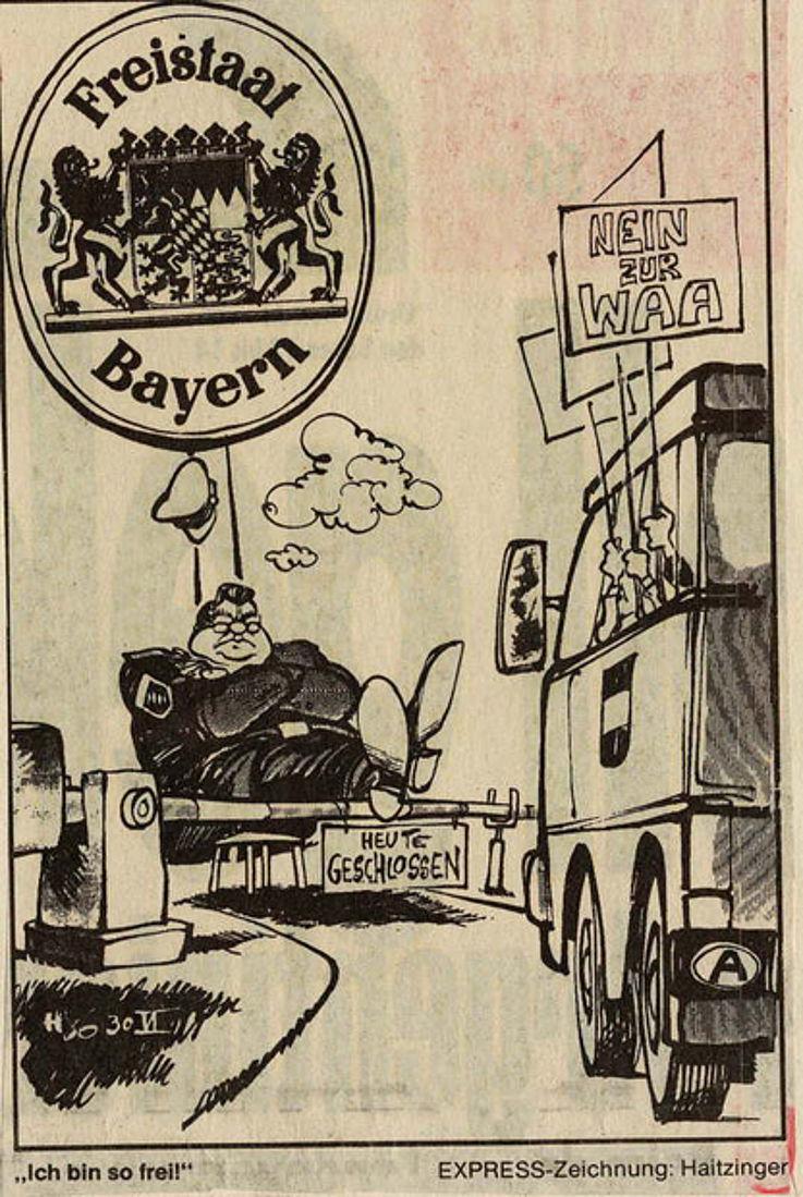 Karikatur von Horst Haitzinger im Kölner Express 1986 anlässlich österreichischer Proteste gegen die Wiederaufarbeitungsanlage in Wackersdorf