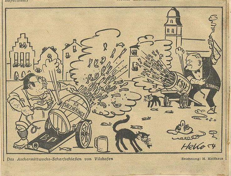 Karikatur von Herbert Kolfhaus 1954 anlässlich des Poltischen Aschermittwochs in Vilshofen