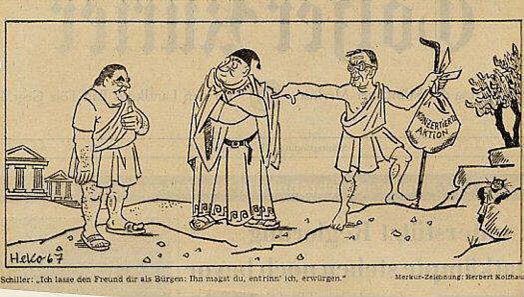 Karikatur von Herbert Kolfhaus im Münchner Merkur 1967 zur Schaffung einer Konzertierten Aktion