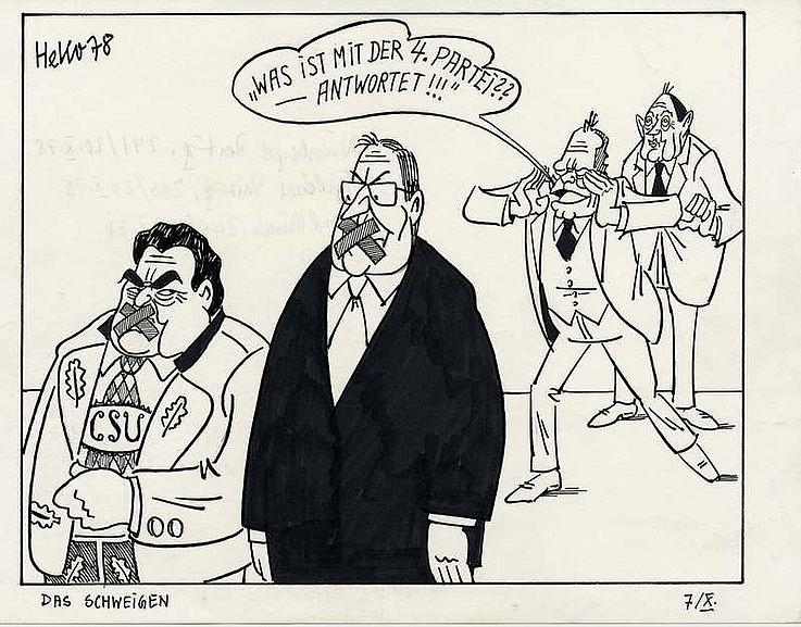 Karikatur von Herbert Kolfhaus 1978 zu Spekulationen über die Vierte Partei