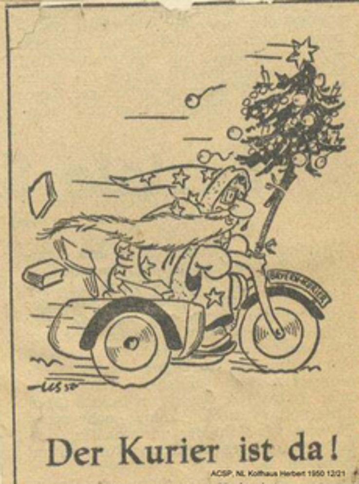 Karikatur von Herbert Kolfhaus als Werbung für den Bayernkurier