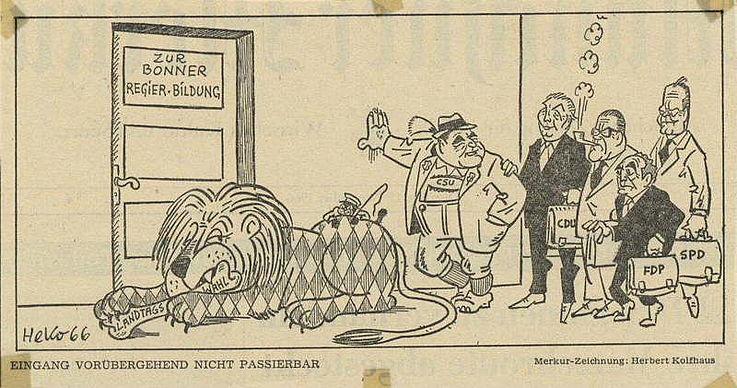 Karikatur von Herbert Kolfhaus im Münchner Merkur 1966 anlässlich der Verhandlungen zur Bildung einer neuen Bundesregierung