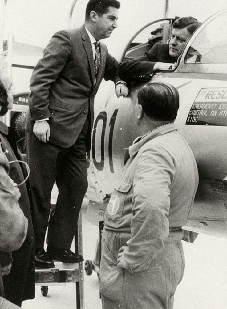 Verteidigungsminister Strauß im Starfighter