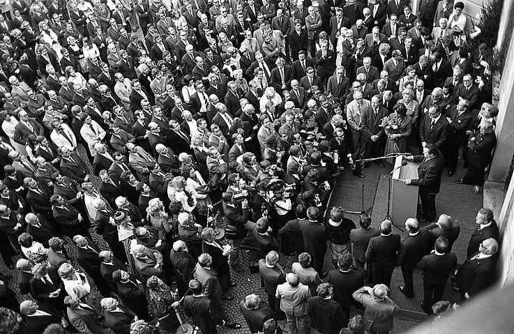 Festakt zum 60. Geburtstag: Franz Josef Strauß im Brunnenhof der Münchner Residenz