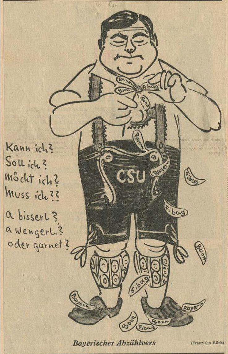 Karikatur von Franziska Bilek in der Münchner Abendzeitung 1962 zu Spekulationen über einen Wechsel von Franz Josef Strauß in die Bayerische Landespolitik.