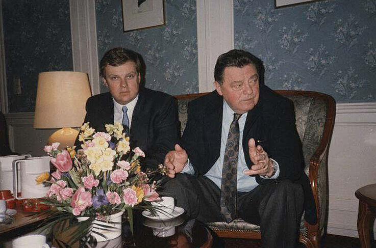 Max Josef Strauß mit seinem Vater in Salzburg Ostern 1986