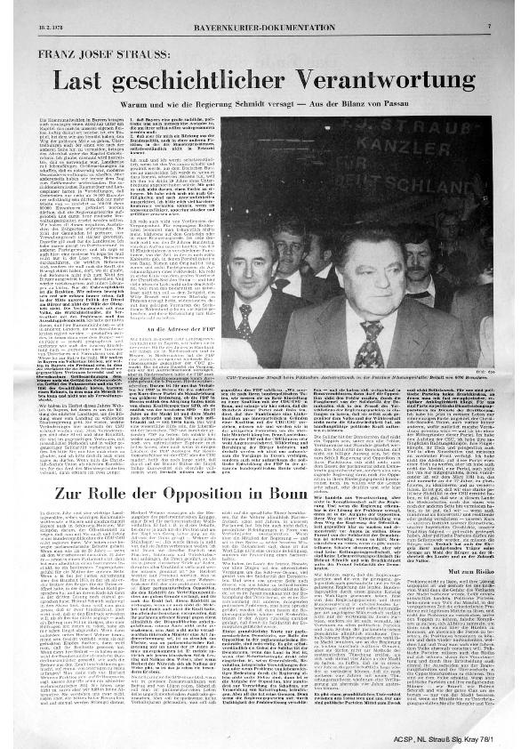 """Zusammenfassung der wichtigsten Passagen der Rede am Politischen Aschermittwoch in der Parteizeitung """"Bayernkurier"""" 1978"""