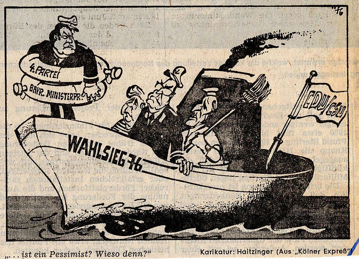 Karikatur von Horst Haitzinger im Kölner Express 1976 zu den Aussichten der CDU/CSU bei der Bundestagswahl 1976