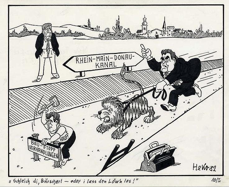 Karikatur von Herbert Kolfhaus 1982 zu Plänen des Bundesverkehrsministers Volker Hauff einen Baustopp für den Rhein-Main-Donaukanal zu verfügen.