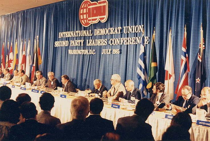 Treffen der Parteivorsitzenden der International Democrat Union (IDU) 1985 in Washington
