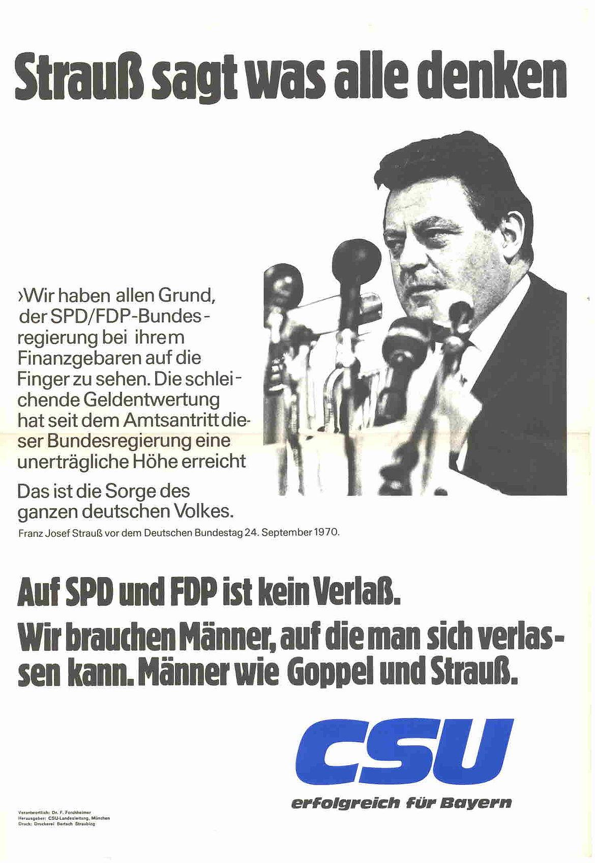 Plakat anlässlich der Landtagswahl in Bayern 1970