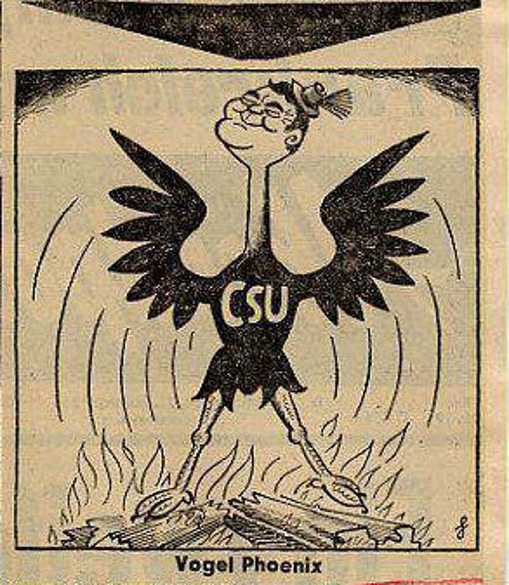 Karikatur von Heinrich Heyne in der Abendpost Frankfurt am Main 1963 anlässlich der Wahl von Franz Josef Strauß zum Landesgruppenvorsitzenden