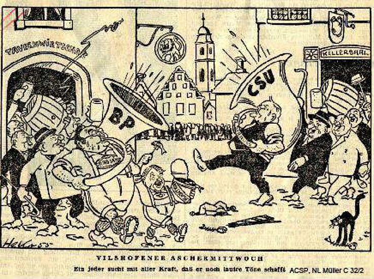 Karikatur von Herbert Kolfhaus 1955 anlässlich des Politischen Aschermittwochs in Vilshofen