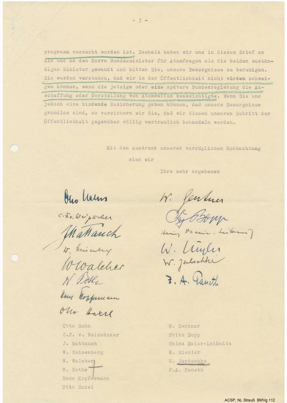 Dritte Seite des Schreibens vom 19. November 1956 mit den Unterschriften der vierzehn Atomwissenschaftler
