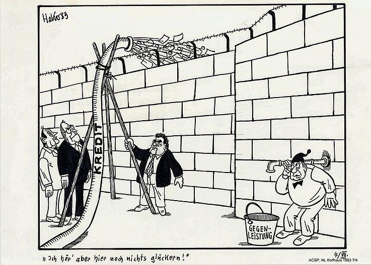 Karikatur von Herbert Kolfhaus 1983 anlässlich des Milliardenkredits an die DDR