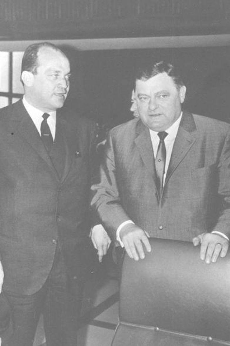 """Mit Franz Josef Dannecker während eines Prozesses gegen das Nachrichtenmagazin """"Der Spiegel"""" 1965 in München"""