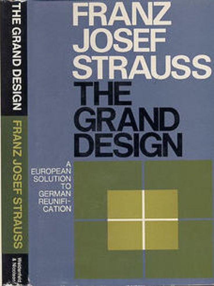 """Schutzumschlag der englischen Erstausgabe des Buches von Franz Josef Strauß """"The grand design"""" 1965"""