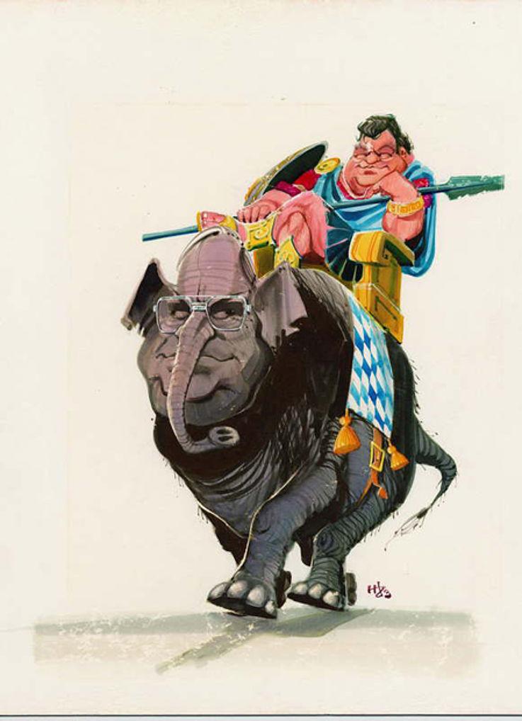 Karikatur von Horst Haitzinger 1983 zum Verhältnis zu Helmut Kohl