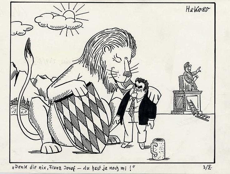 Karikatur von Herbert Kolfhaus 1980 zum Ausgang der Bundstagswahl