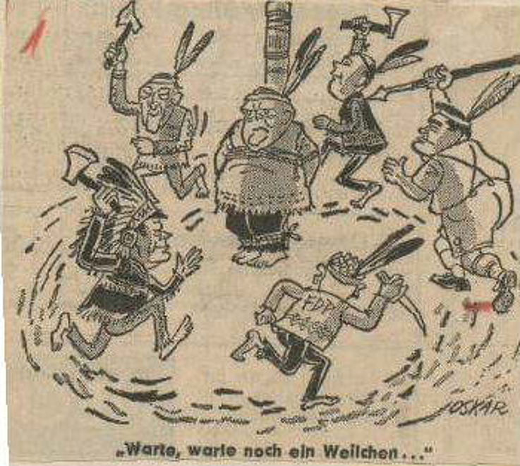 Karikatur von Hans Bierbrauer (Oskar) in der Berliner Morgenpost 1966 zur Koalitionskrise im August 1966