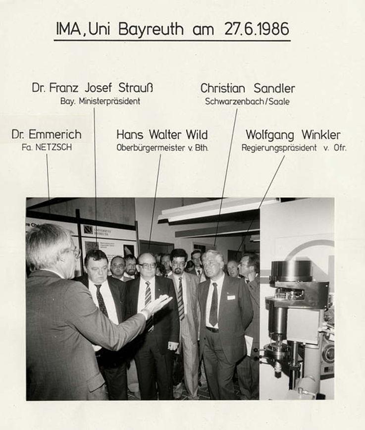 Besuch des Instituts für Materialwissenschaften (IMA) an der Universität Bayreuth 1986