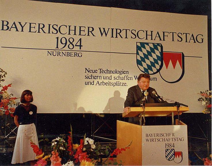 Als Redner auf dem Bayerischen Wirtschaftstag in Nürnberg 1984