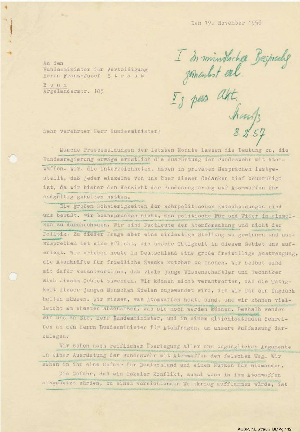 Erste Seite des Schreibens vom 19. November 1956 mit der persönlichen Randbemerkung von Franz Josef Strauß
