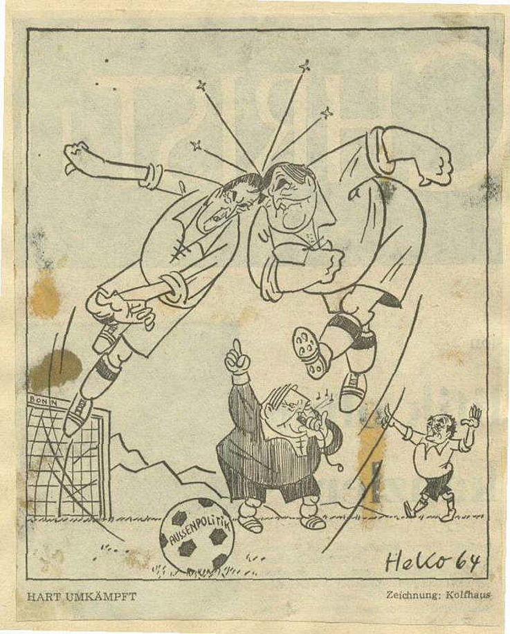 Karikatur von Herbert Kolfhaus 1964 zu den unterschiedlichen Auffassungen von Franz Josef Strauß und Gerhard Schröder in Fragen der Außenpolitik