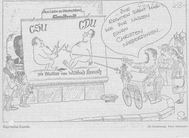 Karikatur von Paul Schmolze in der Schwäbischen Zeitung 1976 zur Auflösung der Fraktionsgemeinschaft mit der CDU