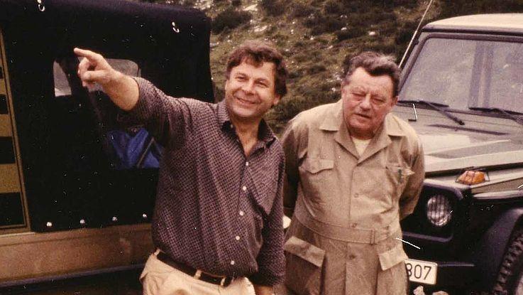 Karl Dersch und Franz Josef Strauß auf der Fahrt nach Albanien 1984