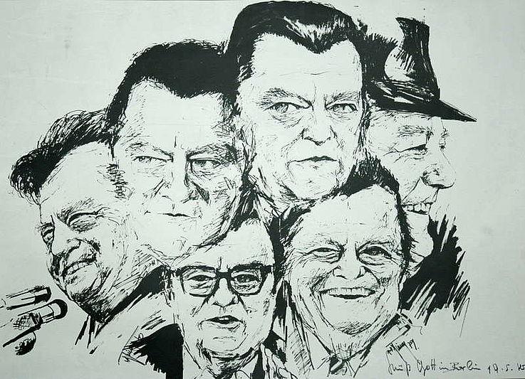 Collage von 1979 anlässlich der Kanzlerkandidatur 1980