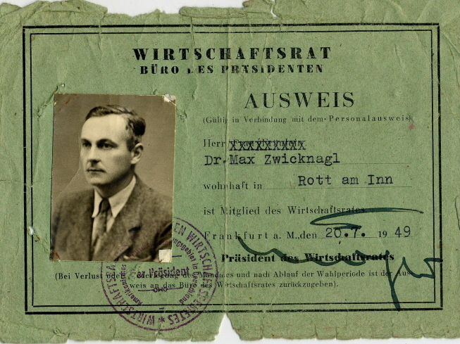 Ausweis von Max Zwicknagl für den Wirtschaftsrat 1949