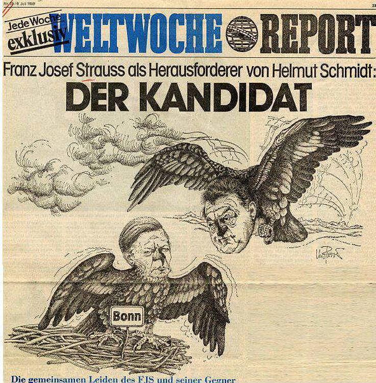 Karikatur der Weltwoche, Zürich, 1980 anlässlich der Bundestagswahl