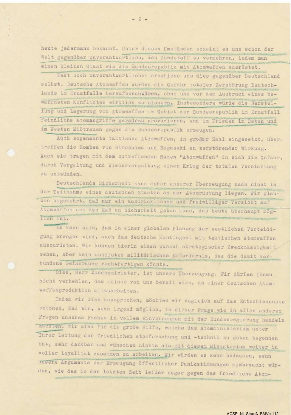 Zweite Seite des Schreibens vom 19. November 1956