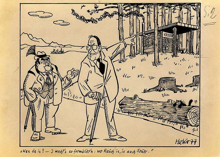 Karikatur von Herbert Kolfhaus Mai 1977 zur Fortführung der Fraktionsgemeinschaft von CDU und CSU