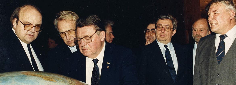 Wilfried Scharnagl und Edmund Stoiber mit Franz Josef Strauß zu Besuch in der Sowjetunion 1987