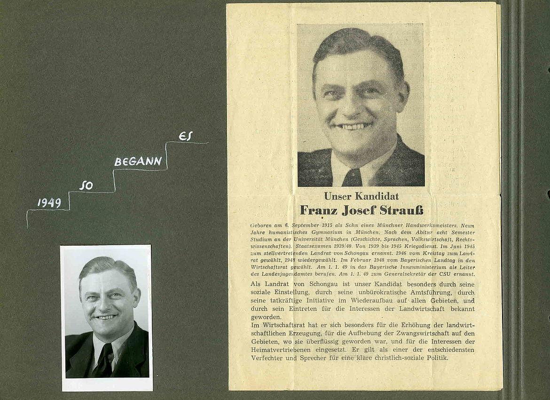 """Fotoalbum """"Bilderbuch vom ersten Deutschen Bundestag 1949/53"""" - Unser Kandidat Franz Josef Strauß 1949"""
