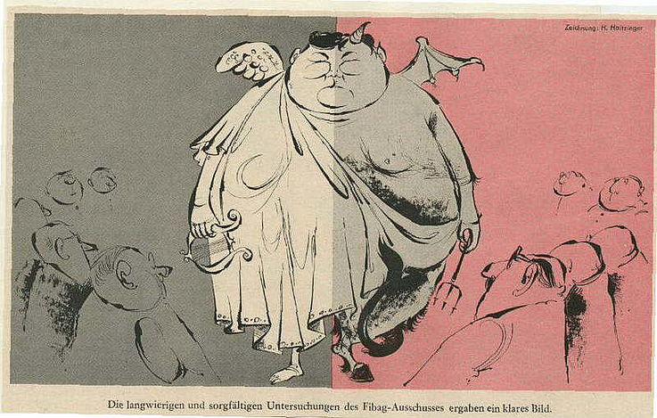 """Karikatur von Horst Haitzinger in der Zeitschrift """"Simplicissimus"""" 1962 anlässlich des Abschlusses des Fibag-Untersuchungsausschusses"""