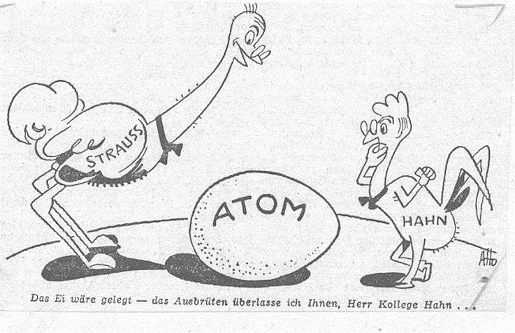 Karikatur Aho im Mannheimer Morgen 1956 zur Bildung der Deutschen Atomkommission als Beratungsorgan des Bundesministers für Atomfragen