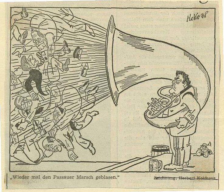 Karikatur von Herbert Kolfhaus 1978 anlässlich des Politischen Aschermittwochs in Passau