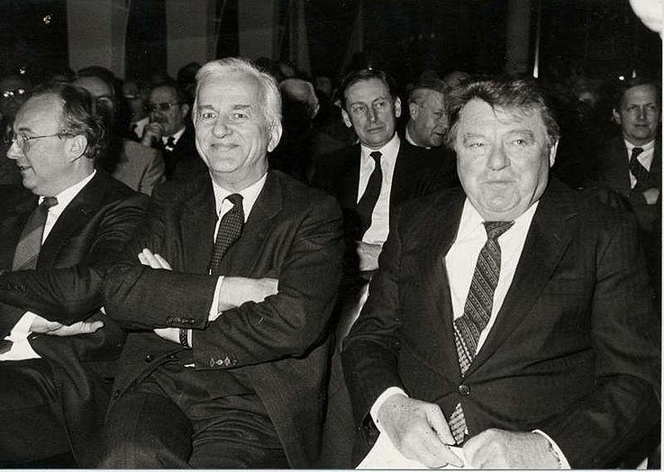 Mit dem Regierenden Bürgermeister von Berlin, Richard von Weizsäcker, während einer Veranstaltung des Vereins Berliner Kaufleute 1983