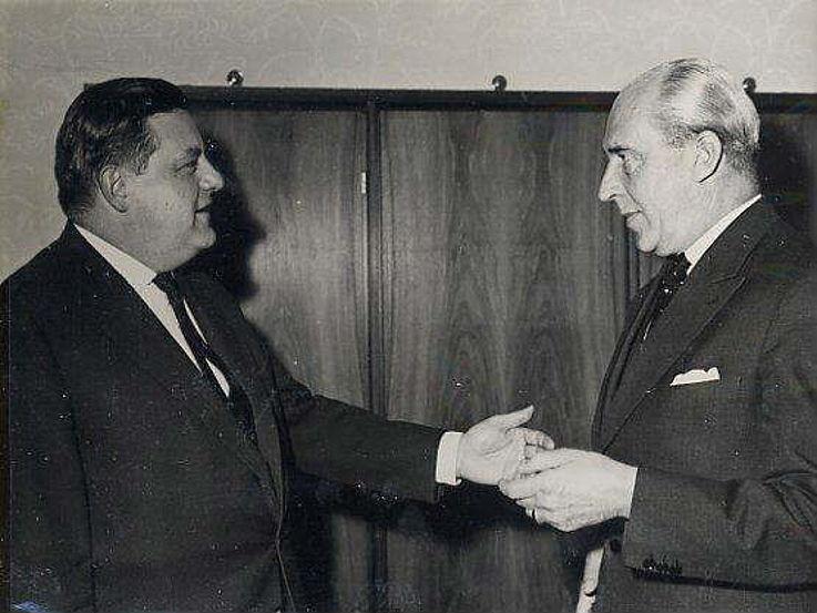 Antrittsbesuch des ersten Wehrbeauftragten der Bundeswehr, Helmuth von Grollmann, 1959
