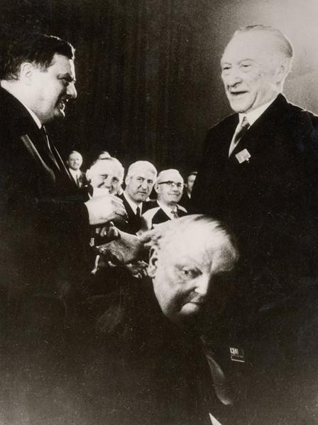 Mit Konrad Adenauer und Ludwig Erhard während des 14. CDU Bundesparteitages 1966 in Bonn