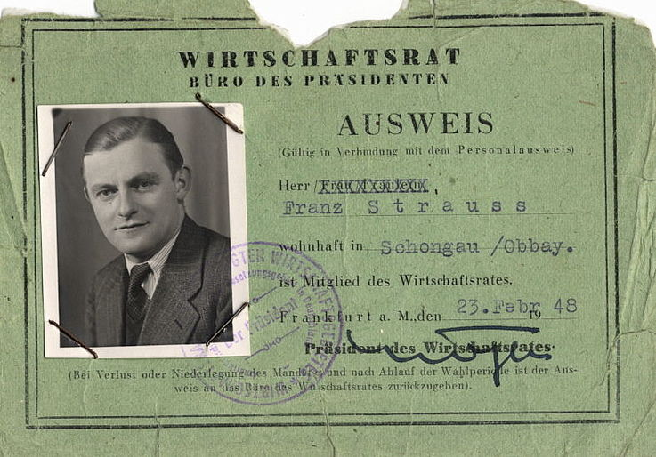 Ausweis von Franz Josef Strauß für den Wirtschaftsrat 1948