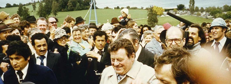 Franz Josef Strauß bei den Feierlichkeiten am Lago Llanquihue zur 125. Jahrfeier der deutschen Einwanderung nach Chile im November 1977