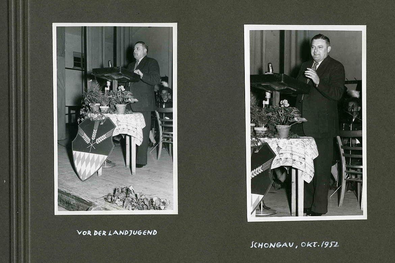 """Fotoalbum """"Bilderbuch vom ersten Deutschen Bundestag 1949/53"""" - Franz Josef Strauß im Wahlkreis"""