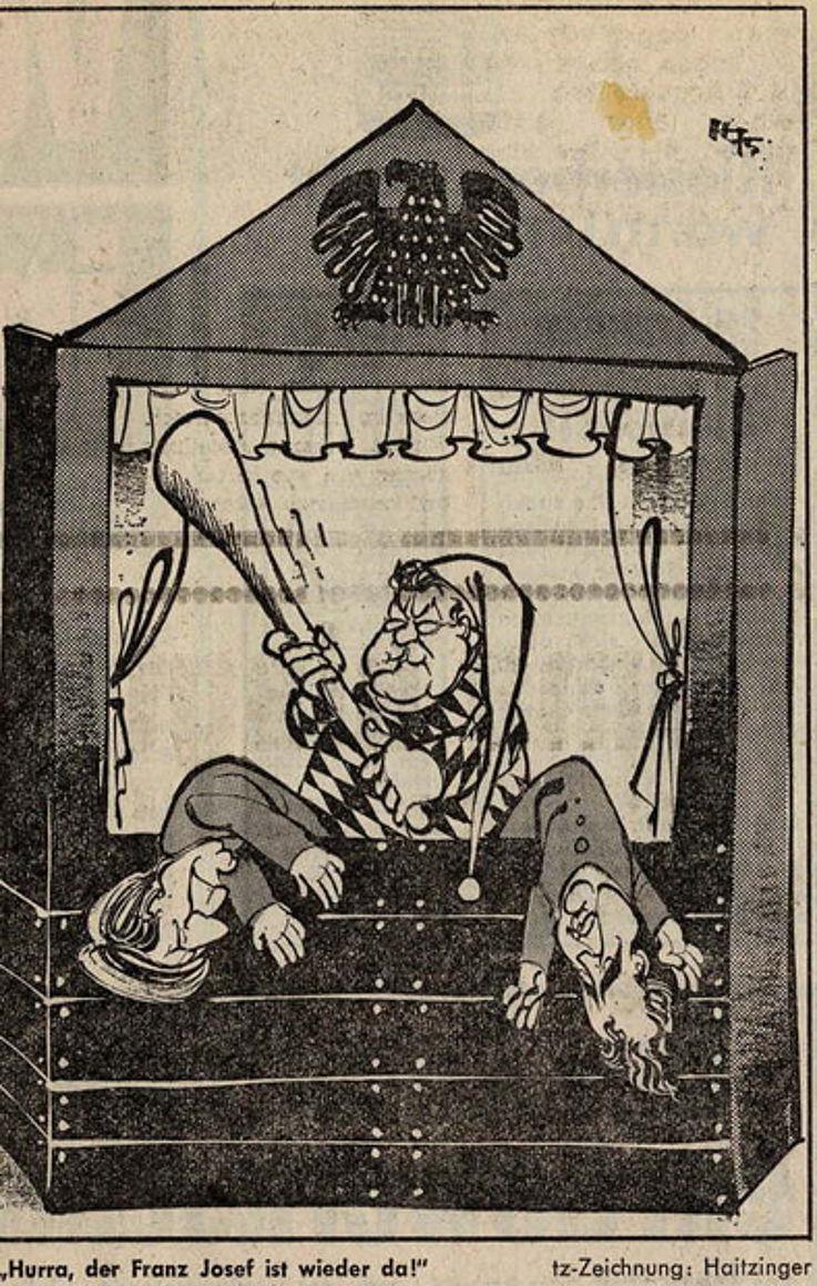 Karikatur von Horst Haitzinger in der tz-München 1975 anlässlich der Haushaltsdebatte am 5. November im Bundestag