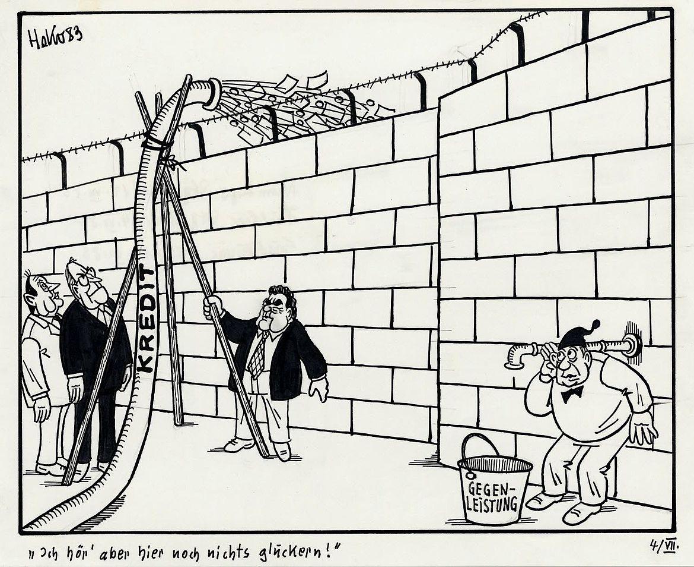 """""""Ich hör' aber hier noch nichts gluckern!"""" Karikatur von Herbert Kolfhaus zum Milliardenkredit"""