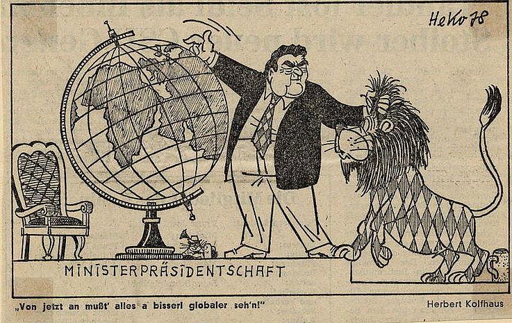 Karikatur von Herbert Kolfhaus 1978 anlässlich der Wahl von Franz Josef Strauß zum Bayerischen Ministerpräsidenten.
